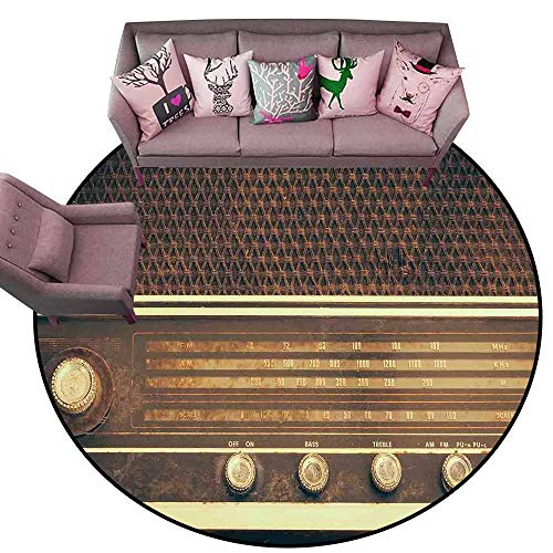 (Multi-USE Floor MAT Vintage,Old Antique Retro 60s Style Radio Music Player Loudspeakers Buttons Image,Brown and White Diameter 48