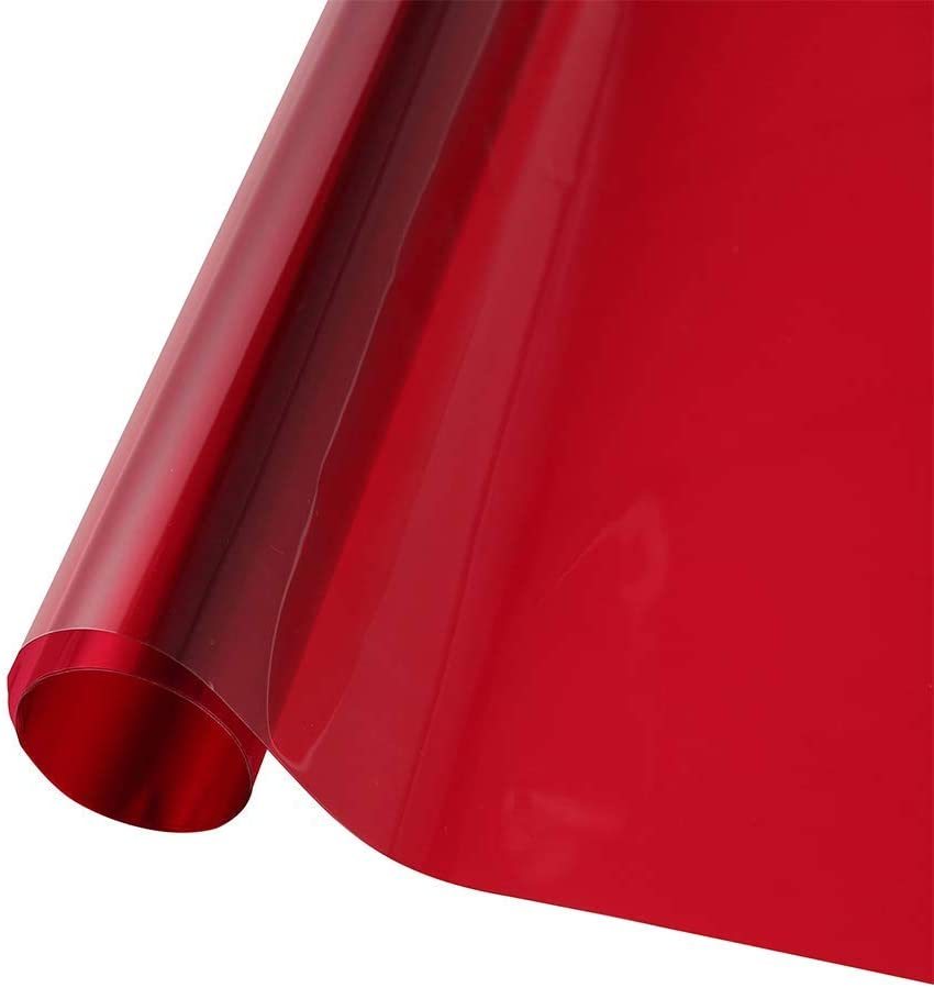 Transparent Decorative Window Film Anti UV Colorful Adhesive Vinyl Heat Insulation Solar Window Tinting Sheets Glass Film for Christmas Home Decoration, 17.7Inch x 78.7Inch, Red
