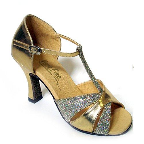 """50 Shades Of Gold Tanzschuhe Sammlung, Komfort Abendkleid Hochzeit Pumps: Ballroom Schuhe für Latin, Tango, Salsa, Swing, Kunst von Party Party (2,5 """"3"""" & 3,5 """"Heels) 6016- Gold Leder & Funkeln"""