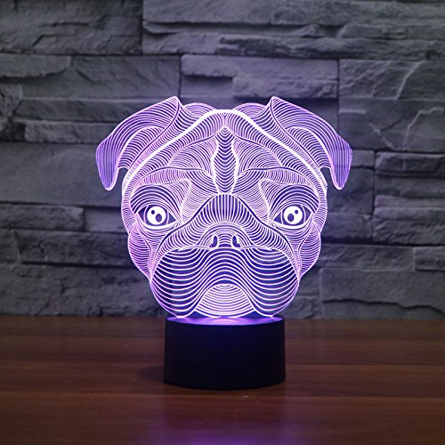 3D Sharpei Puppy Bulldog Dog Animal Night Light 7 Color Change LED Table Desk Lamp Acrylic Flat ABS Base USB Charger Home Decoration Toy Brithday Xmas Kid Children Gift by FXUS (Image #6)
