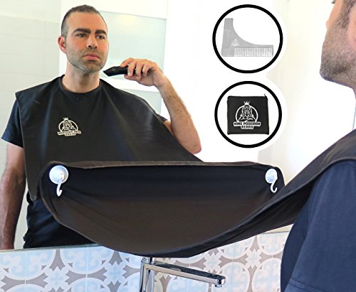 KING POSEIDON Beard Shaving Bib Apron Beard Catcher With Stainless Steel Beard Shaping Tool Comb, Hair Clippings Cape For Shaving, Premium Grooming Kit For Men, Black