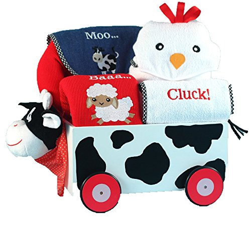 Silly Phillie Cow Plush & Wood Wagon Layette Baby Gift Set