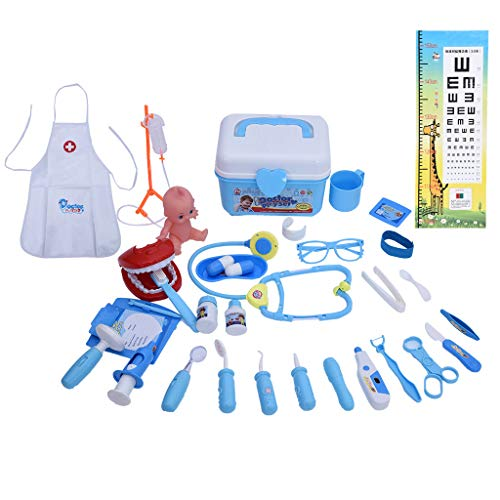 Kids Pretend Play Doctor Playset Kit, 35 Pieces Deluxe Electronic Stethoscope Dentist Medical Role Play Costume Educational Toys Set for Toddlers Boys Girls (Blue)