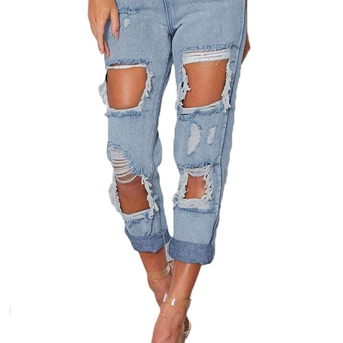 Pantalones De Jeans para Mujer Moda Ripped Cintura Alta Slim ...