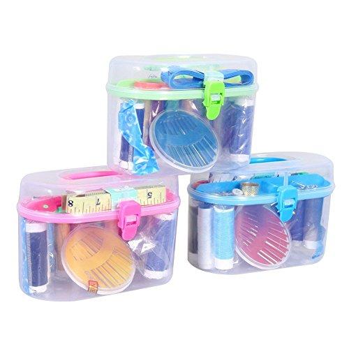 Chinatera Sewing Sets & Kits Thread Threader Needle Tape Measure Scissor Thimble Box Bag