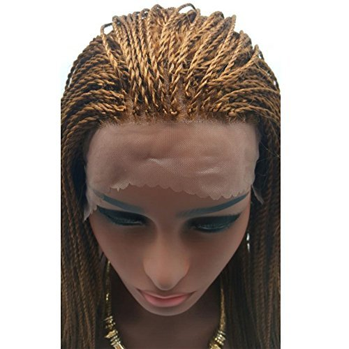 HonorHair Cheap Fully Braided Lace Front Wigs Micro Braid Lace Front Wig Synthetic Light Brown Braided Hair Wigs with Baby Hair for (Brown Braided Wig)