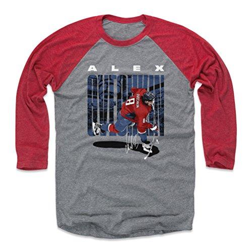 - 500 LEVEL Alex Ovechkin Baseball Tee Shirt (XX-Large, Red/Heather Gray) - Washington Capitals Raglan Tee - Alex Ovechkin Slap Shot B WHT
