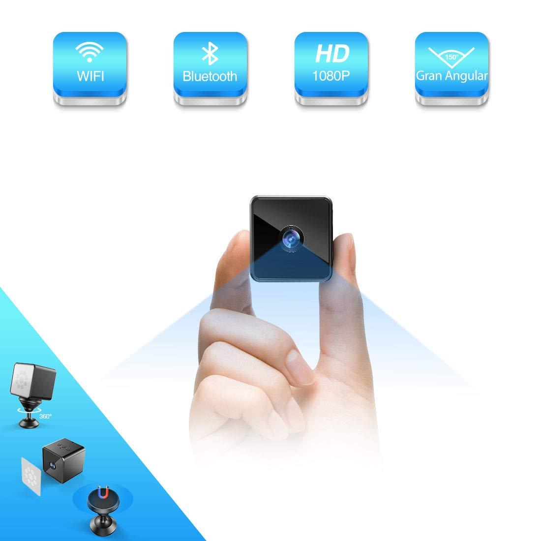 Mini Camara Espia Oculta Bluetooth, MHDYT WiFi HD 1080P Cámara Vigilancia Portátil con Altavoz Bluetooth, Sensor Movimiento, Visión Nocturna, IP Camara Seguridad Inalambrica Micro Interior/Exterior product image