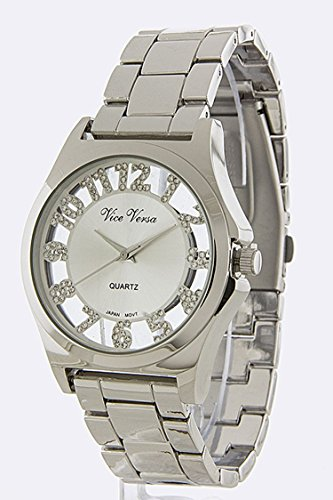 THE JEWEL RACK SEE THRU MULTI STONE NUMERAL DIAL WATCH - Outlets Palomar