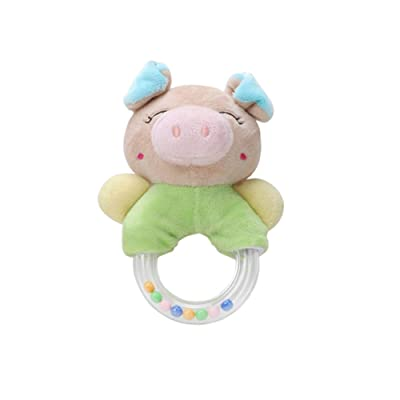 Baby Rattle Cartoon Pig Soft Plush Animal Rattle Toys Easy Grip Ring Rattle Baby Educational Doll Toy : Baby