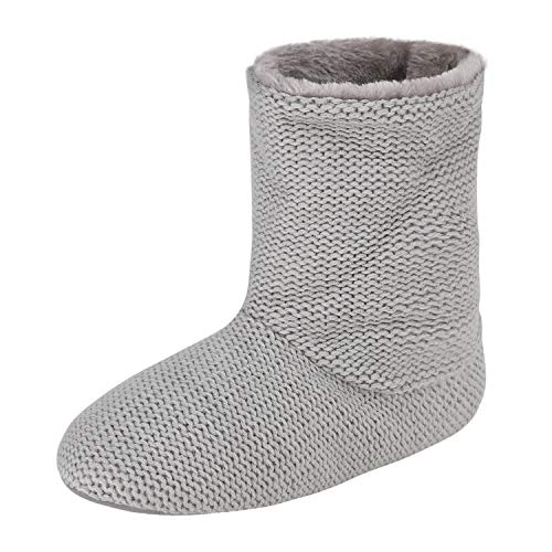Women's Indoor Slippers Winter Warm Cotton Cable Knit Fleece Lined Ankle High Snow Boots Non-Slip Floor Socks (36-37 M EU / 5-6 B(M) US, Grey Knitted)