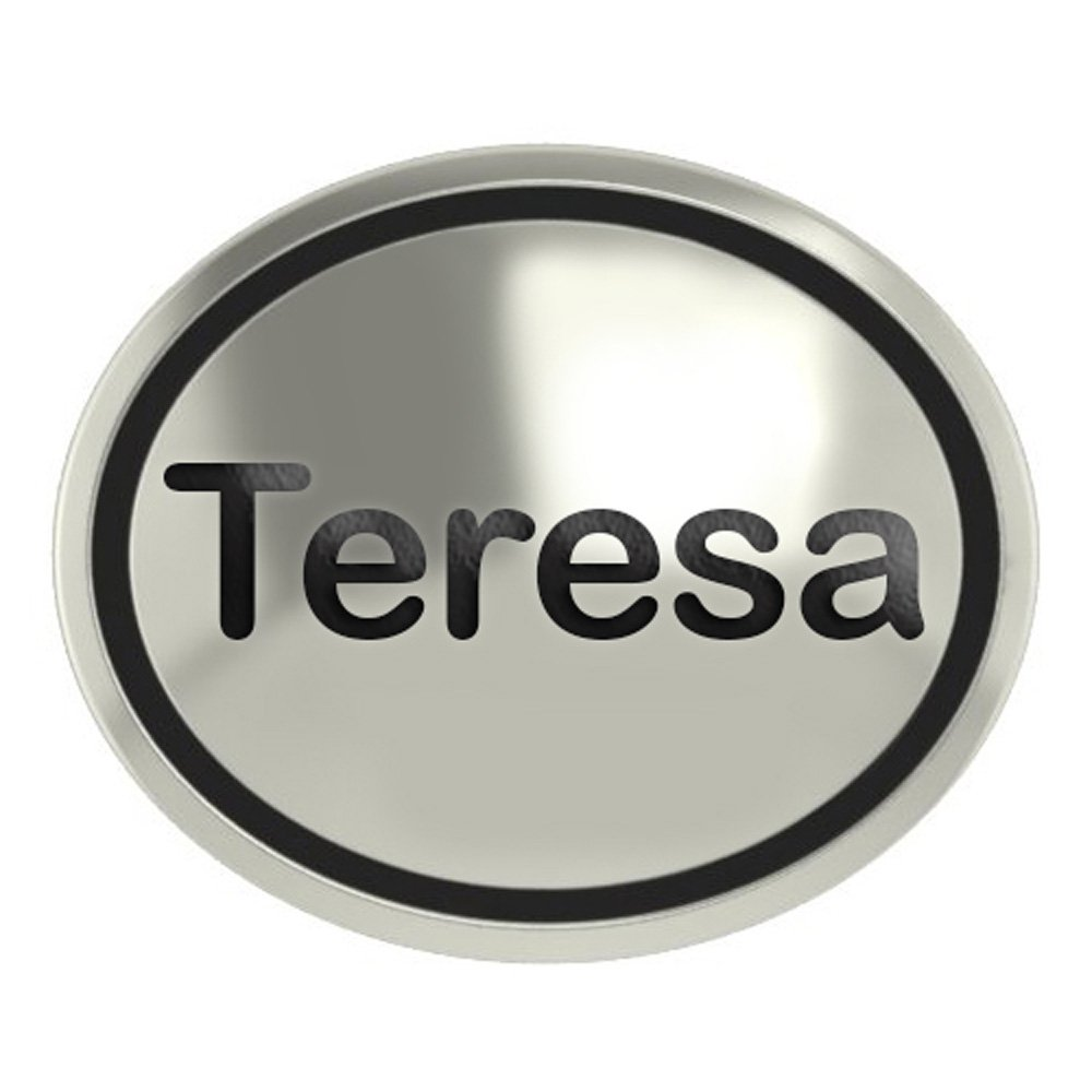 Teresa Sterling Silver Antiqued Oval Bead in Sans Seriff Font
