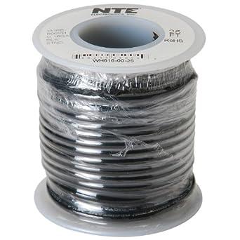 NTE Electronics WH616-00-25 Hook Up Wire, Stranded, Type 16 Gauge, 25' Length, 600V, Black