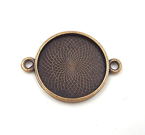 20 Deannassupplyshop Circle Connector Pendant Trays - Copper Color - 1 inch - Pendant Blanks Cameo Bezel Settings Photo Jewelry - Custom Jewelry (Round Flower Connector)