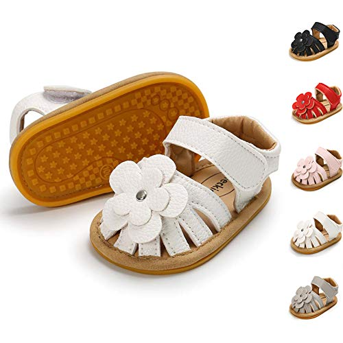 (Meckior Baby Toddler Girls PU Leather Soft Closed Toe Summer Sandals Flower Princess Flat Shoes (6-12 Months M US Infant, A-White))