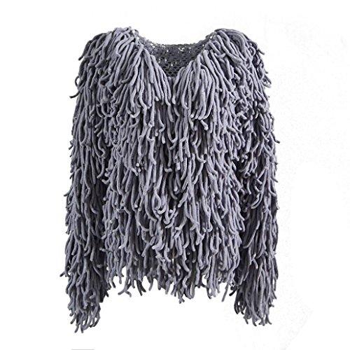 's de Oversized Chaqueta Winter Fur Warm Kanpola Peludo para Gris Women Knit Abrigo Outwear Mujer Cardigan 5wxIq8qUW