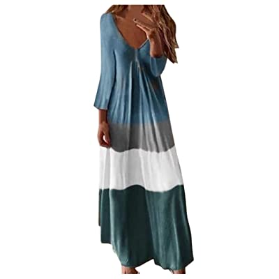 Gibobby Long Summer Dresses for Women, Womens Gradient Color Block Tie-Dyed V Neck Sleeveless Loose Long Maxi Dresses at Women's Clothing store