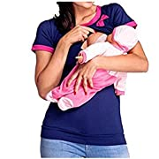 Women Double Layered Patchwork Maternity Breastfeeding and Nursing Tops (L, Pink/Blue)