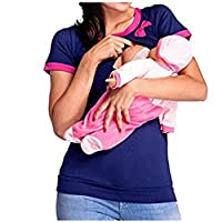 Women Double Layered Patchwork Maternity Breastfeeding and Nursing Tops (L, P...