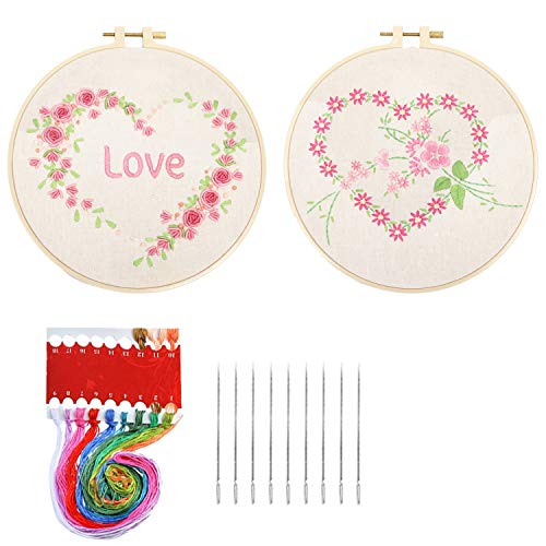 HaiMay 2 Sets Embroidery Starter Cross Stitch Kit with 2 Loving Heart Pattern, 2 Bamboo Embroidery Hoops, Color Threads and Tools Kit