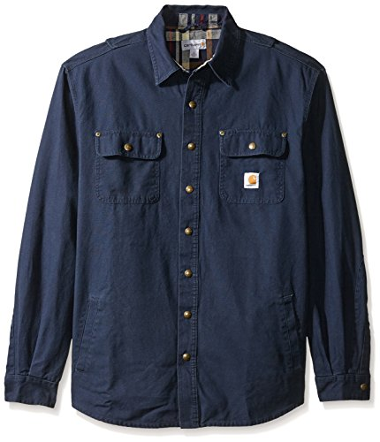 Jacket Soft Carhartt (Carhartt Men's Big & Tall Weathered Canvas Shirt Jacketket Snapfront, Navy, X-Large/Tall)