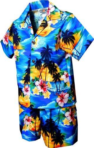 Pacific Legend Boys Brilliant Hawaiian Island Sunset 2pc Set BLUE 2T -