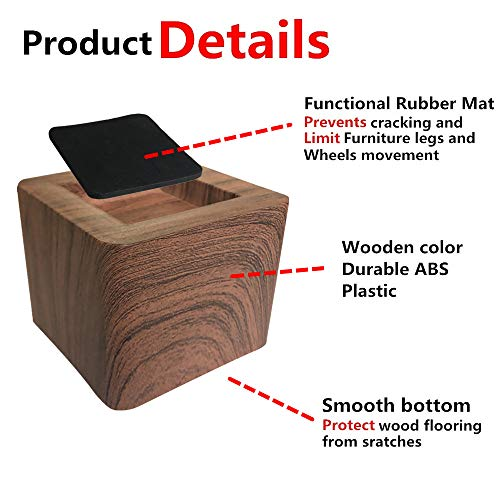 Aspeike The New Upgrade 4 Packs 3 INCH Dark Wooden Color Square Bed and Furniture Risers, Heavy Duty Bed Lifts, Lifts Up to 6600 LBs, Couch, Sofa or Table Risers,(More Realistic Woody Feel), Chocolate
