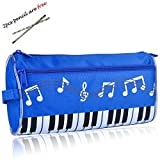 BestSounds Pen Pencil Bag Zipper Pencil Case Large capacity stationery for student or Business people, 2pcs Free Pencils as a Gift. (Dark blue)
