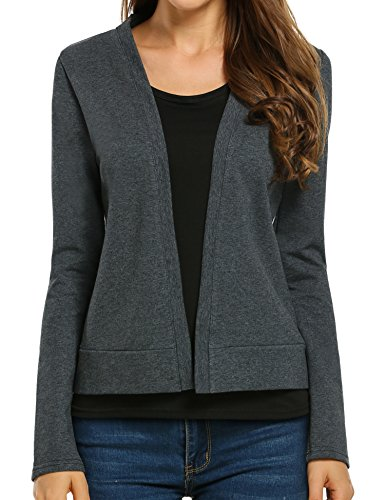 Meaneor Women's Short Casual Coat Open Front Cropped Cardigan Blazer Jacket