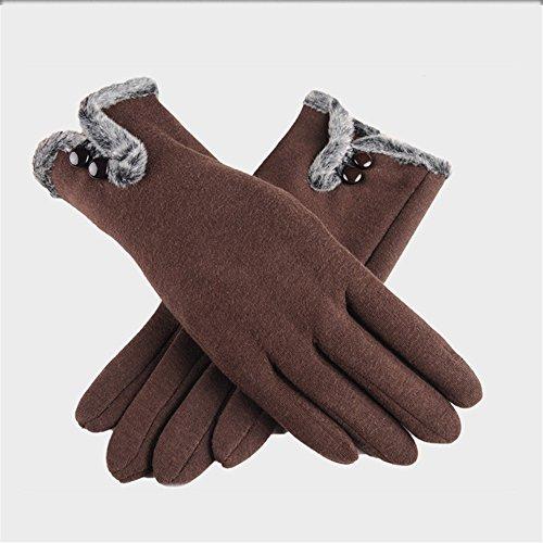 手袋 レディース スマホ手袋 グローブ 非反転 カシミアミトン タッチスクリーン  暖かい 冬着 ブラウン