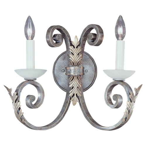 (Sea Gull Lighting 4356-61 2-Light Acanthus Wall and Bath Sconce, Excavated Alabaster Glass Accents and Silver Patina)