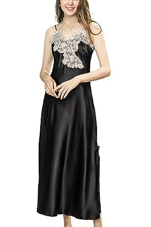 304fbe36fe asher BABY Women s Nightdress Lace Satin Nightgowns Long Chemise Sleepwear  Black US 0-2