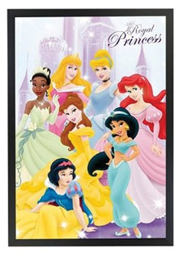 Professionally Framed Royal Princess Disney Poster Print 24x36 on a Black Frame Made in USA ()