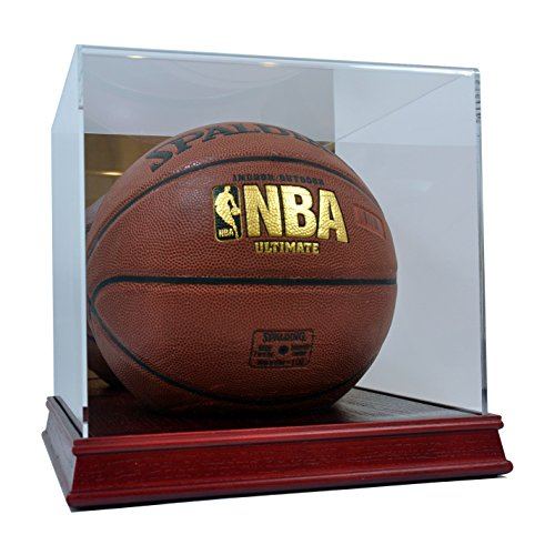 (SAFTGARD SUPPLIES Deluxe Acrylic Wood Base Basketball Display Case w/Mirror Back )