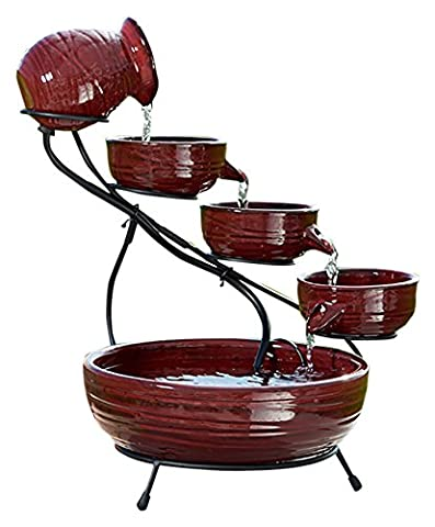 Smart Solar 23941R01 Ceramic Solar Cascade Fountain, Lava Red Finish, Powered by Included Separate Solar Panel, No Operating Costs or Wiring - Smart Solar Fountain