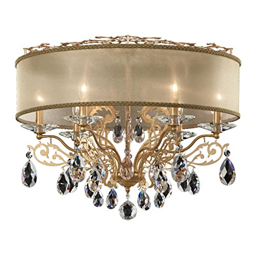 3 Filigrae 6-Light Close to Ceiling with Clear Heritage Crystal and Shade Hardback Bronze, Etruscan Gold (Etruscan Bronze 6 Light)