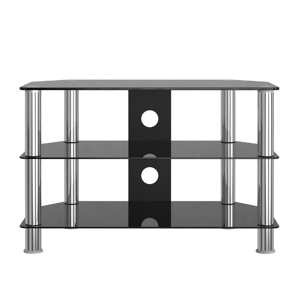 Panana Tv Stand Table Glass Stainless Steel Tv Media Amazon Co Uk  # Meuble Tv Amplifier