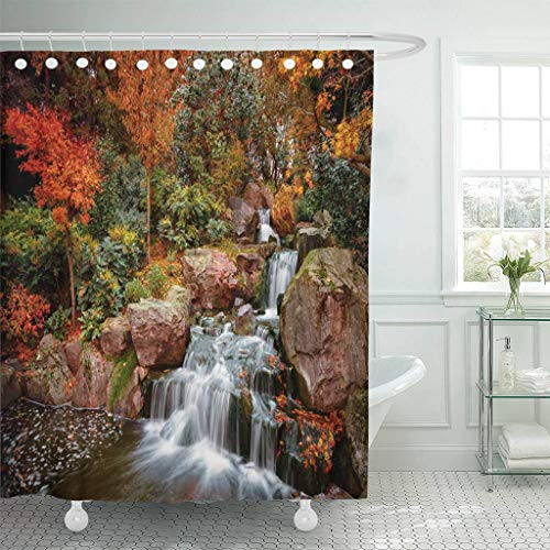Emvency Fabric Shower Curtain Curtains with Hooks Wide Angle Panning Shot Showing Exquisite Details of Lush Japanese Gardens Including Waterfall During 66