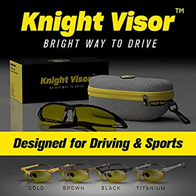 541e87362 BLUPOND Night Driving Glasses - Semi Polarized Yellow Tint HD Vision Anti  Glare Lens - Unbreakable Metal Frame with Car Clip Holder - Knight Visor