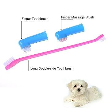 3pcs perro gato mascotas animales cepillo + dientes cepillo de dientes dedo limpio cepillo dental: Amazon.es: Productos para mascotas