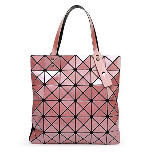 Bolso de mano de las mujeres Bolso de tela escocesa geométrica doblada de las mujeres Bolso de hombro de las mujeres ocasionales del bolso de mano Rosa claro Pink