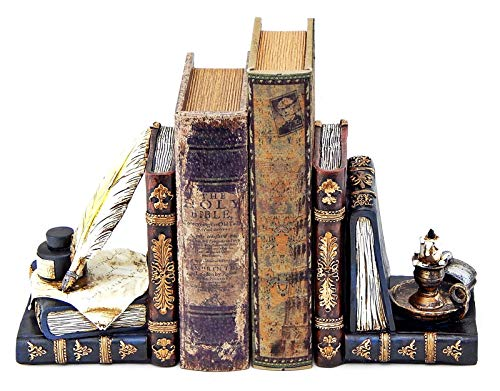 Bellaa 26324 Wizard Bookends Feather Quill Pen and Ink Bottle with Oil Lamp Antique Style
