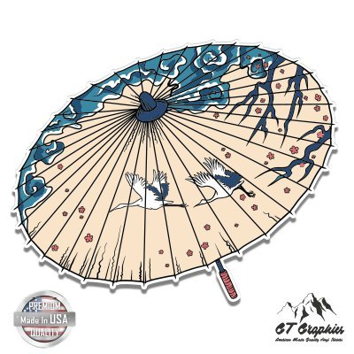 Japanese Graphic Umbrella Cranes Cherry Blossoms - 5