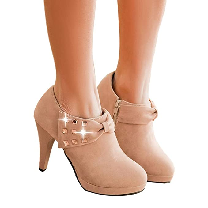 Rcool Zapatos de tacón zapatos de tacón alto mujer zapatos de tacón transparentes,Botines de tacón alto con plataforma botines con cremallera de gamuza de ...