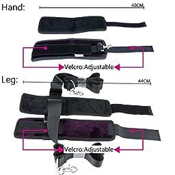 Roomfun Brand Sex Adjustable Wrist Ankle Cuffs Flannel Cotton Purple Pillow Sex Bondage Restraint Sex Sports Tool