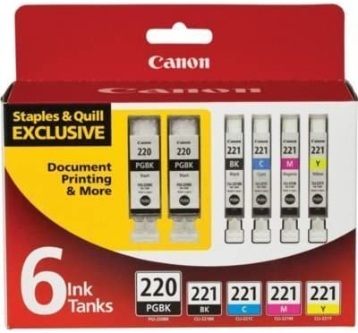 7 Packs Genuine Canon PGI-220BK Black and CLI-221 B//C//M//Y Color Ink Cartridges