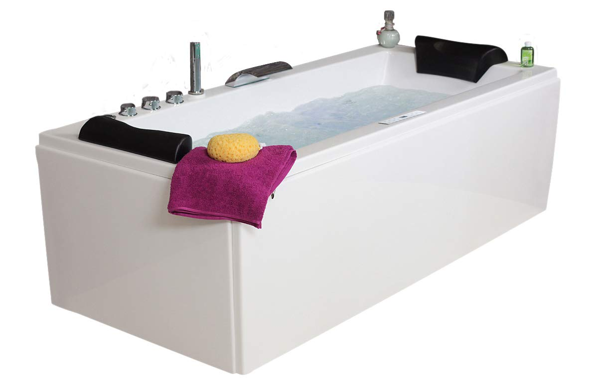 Whirlpool Bathtub Relax Professional MADE IN GERMANY 140 / 150 / 160 / 170 cm WITH 22 Massage Nozzles + Underwater Lighting / Light + Heater + Ozone Disinfection + with Brass Faucet mixer fittings Corner bath right or left Corner bath supply24