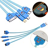 GKG FAST CHARGE Premium quality 4 in 1 Multiple LED LIGHT,LUMINOUS, Adjustable USB Adapter Charging Cable Connector And Micro USB for iPhone 6, 6 Plus, 5 / 5S / 5C, iPad 4th Gen, iPad Air, iPad Mini, iPod touch 5th Gen, iPod Nano 7th Gen, Samsung Galaxy S6,S6 EDGE, S5 and ,SAMSUNG GALAXY S6,S6 EDGE S3,S4Samsung Galaxy Note 3, Data Cable,Blue Color 4-in-1 24cm Luminous Smiling Face USB Data Charging Cable for Samsung Galaxy Note 3 N9000 Note III Galaxy S5 i9600 / iPhone 4 / 4S / 5 / 5S / 5C Nexus HTC One Kindle Fire HD Touch Acer LG Optimus Pantech Blackberry Motorola RAZR MAXX HD Sony Ericsson ZTE Android Phone
