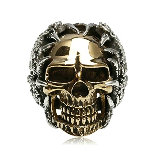Bishilin Men's Rings Silver Plated Skull Partner Rings Silver Size 12 by Bishilin (Image #5)