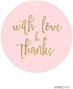 Andaz Press Blush Pink Gold Glitter Print Wedding Collection, Round Circle Gift Tags, with Love and Thanks, 24-Pack